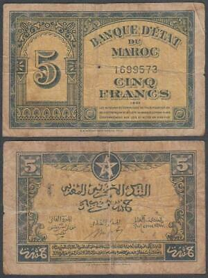 Morocco - WW II First Issue, 5 Francs, 1943, F+ (pinhole), P-24
