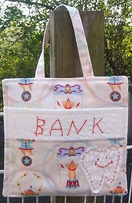 Tooth Fairy Bank- Hand Appliqued & Embroidered - Circus Bears~Pocket Tote Hanger