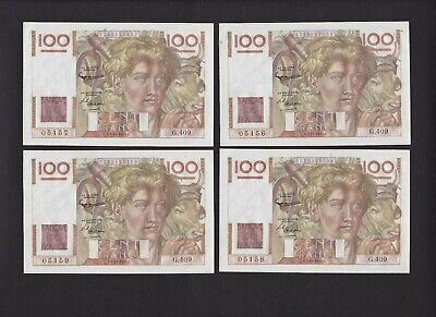 Lot Of 4 France 1951 100-Francs Notes  Consecutive Serial Numbers