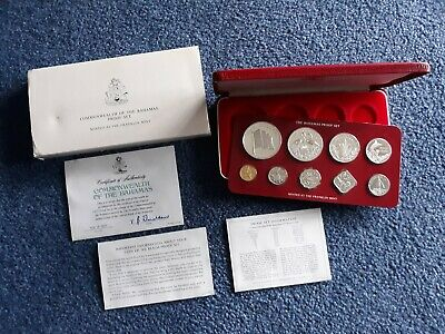 Bahamas 1977 9-Coin Proof Set Original Mint Packaging    4 Coins Are Silver