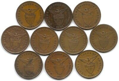 Philippines Lot of 10 Different 1 Centavo Coins 1903 - 1929 US Territory!