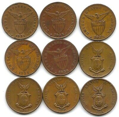 Philippines Lot of 9 Different 1 Centavo Coins 1931 - 1944 US Territory!