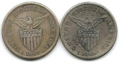 Philippines Lot of 2 Silver 1 Peso Coins KM 172 1907 s & 1909 s US Minted!