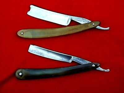 "Lot Of 2 SHEFFIELD Straight Razors GEO. WOSTENHOLM ""IXL"", G. JOHNSON Horn Scales"
