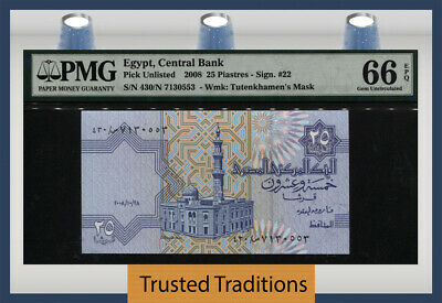 Tt Pk Unl 2008 Egypt Central Bank 25 Piastres Original Beauty Pmg 66 Epq Gem Unc