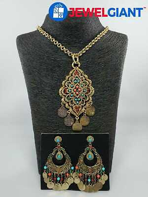 """R.J. GRAZIANO SIGNED COSTUME JEWELRY NECKLACE 34"""" AND EARRINGS SET #bj823"""