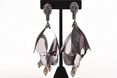 Oscar de la Renta Impatiens black hand beaded petal drop earrings NEW $425