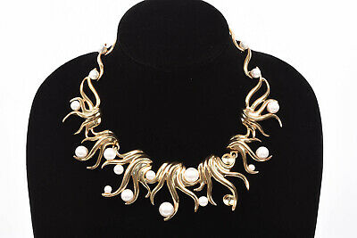 Oscar de la Renta gold sea swirl faux pearl statement collar necklace NEW $790