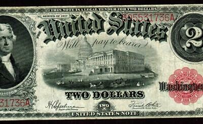 $2 1917 United States Note - Legal Tender - Sawhorse * MORE CURRENCY FOR SALE **