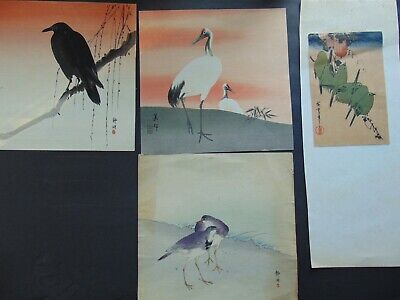 FOUR ANTIQUE JAPANESE WOODBLOCK BIRD PRINTS on HAND MADE PAPER