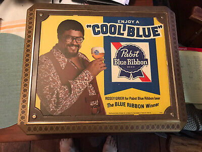 Old Pabst Blue Ribbon Beer Light With Rosie Grier Football Star  Advertising