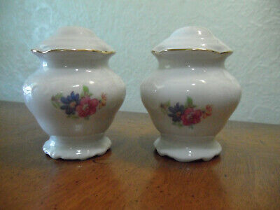 Vintage Porcelain Wawel Salt & Pepper Shakers Tea Rose Made in Poland