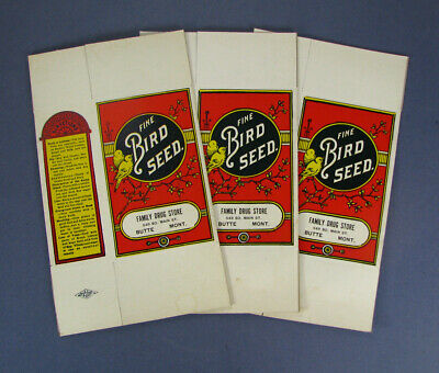 #22 3 old 1910's CANARY BIRD SEED BOXES / BUTTE MONTANA Family Drug Store unused