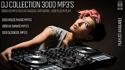 Dj Collection 3000 HQ Full Length MP3's - Plug & Play USB