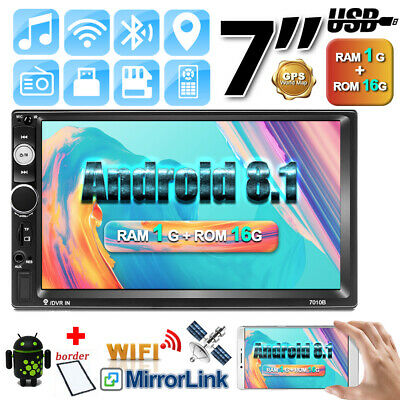 "2Din 7"" Android 8.1 Autoradio Stereo WIFI GPS MP5 Andriod/IOS Link Specchio FM"