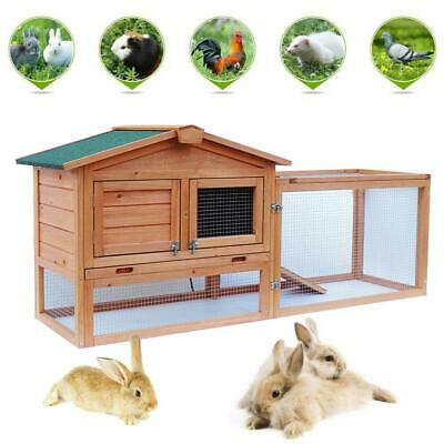 "61"" Two-tier Wooden Rabbit Hutch Cage Chicken Coop House Bunny Hen Pet Animal"