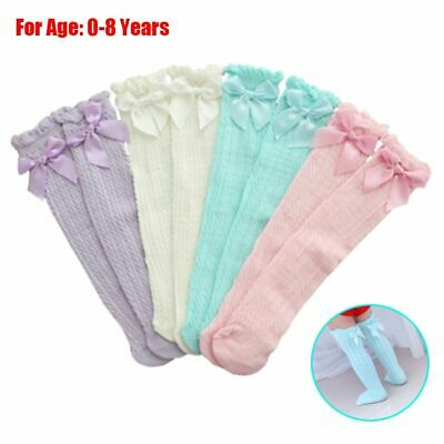 Cotton Girls Knee High Stockings Kids Tights Baby Lace Socks Bowknot Pantyhose