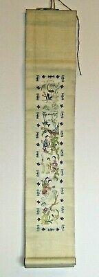Old Chinese Embroidered Hanging Story Scroll - Swastikas / Bats / Gold Thread #1
