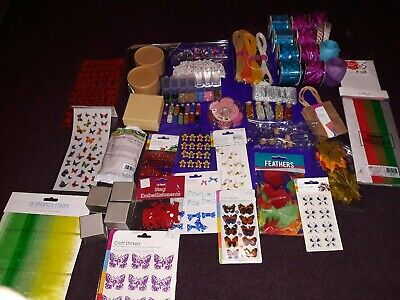 Job Lot Craft Ribbons,Beads,Sticker,Boxes,Lettering,Tissue And More New And Used