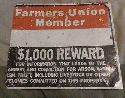 """Vintage Metal Agricultural Farm Union Member Advertising Sign ~14.25""""X12.25"""""""