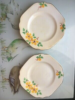 Vintage Rosina Bone China Gold Plated Small Floral Side Plates X2