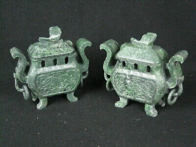 Pair of Oriental Hand Carved Soapstone Censers H: 12 Cm