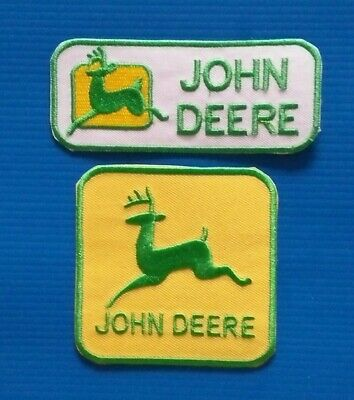 2 Lot JOHN DEERE TRACTOR  Embroidered Sew/Iron On  Patches W/ FREE SHIPPING