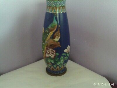 Lovely Old Chinese Cloisonne Enamel Peacocks & Peony Vase 22 Cms Tall Has Damage