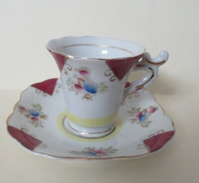 Vintage Small China Teacup w/ Floral Pattern & Gold Leaf Border, Label Japan