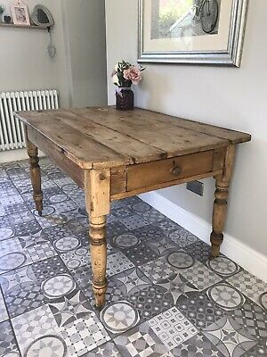 Antique Pine Farmhouse/cottage Kitchen/dining Table On Casters