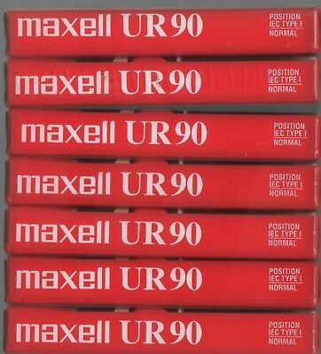 Maxell UR 90 Minutes Blank Cassette Tapes Normal Bias Lot Set 7 NEW