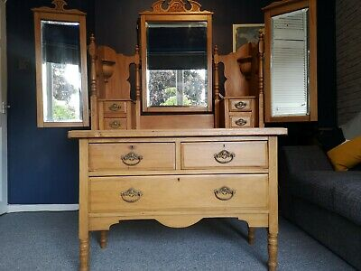 Antique Victorian Dressing Table Triple Mirror with Draws
