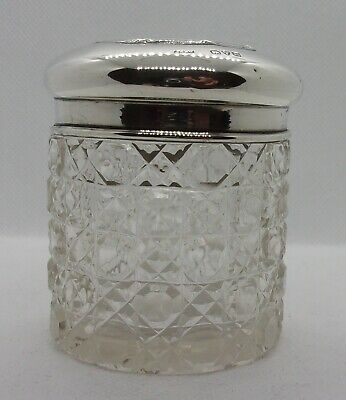 Pretty Antique Solid Silver Topped Hobnail Glass Vanity Jar - Chester 1923