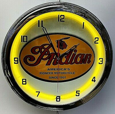 """16"""" INDIAN Motorcycle Since 1901 Old Sign Yellow Neon Clock"""