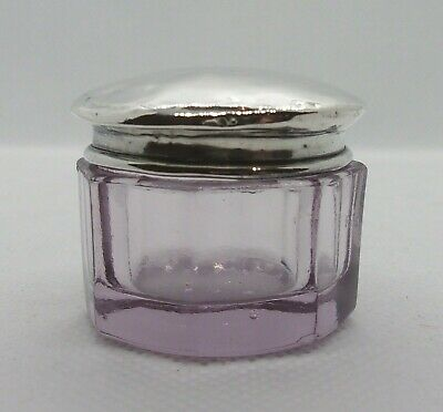 Pretty Antique Silver Topped Octagonal Amethyst Glass Vanity Pot - 1918