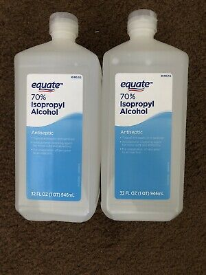 2x 32oz Equate 70% Isopropyl Rubbing Alcohol  Antiseptic First Aid (64oz Total)