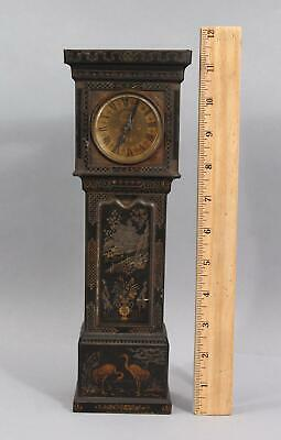 Antique Tin Toleware Chinoiserie Miniature Doll House Grandfather Clock, NR