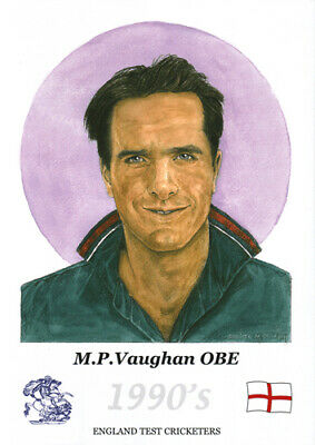 M.P. Vaughan - former England cricketer - Limited Edition A4 watercolour print