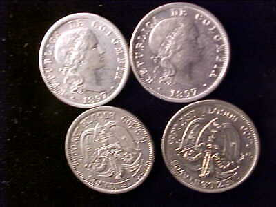 Colombia 10  Centavos 1897 Lot Of 4 Coins
