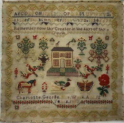 Late 19Th Century House, Horse, Duck & Motif Sampler By Charlotte George - 1893