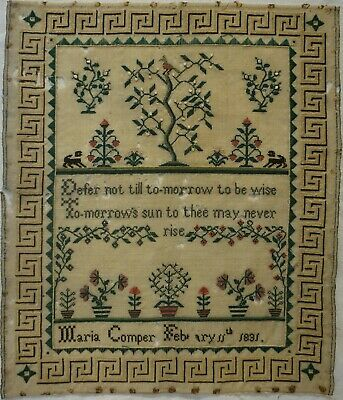 EARLY 19TH CENTURY MOTIF & VERSE SAMPLER BY MARIA COMPER - February 11th 1831