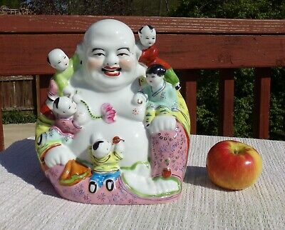 "Vintage Chinese Famille Rose Porcelain Happy Buddha Five Children 10"" Tall"