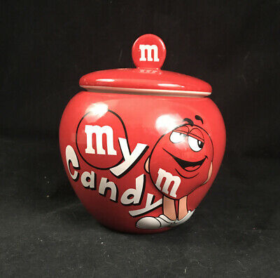 M&M's Red Candy Ceramic Canister Bowl Cookie Treat Jar with Lid