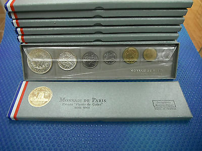 MONNAIE DE PARIS FRANCE FDC 1965 SET original box 2 SILVER COINS 5 and 10 FRANCS