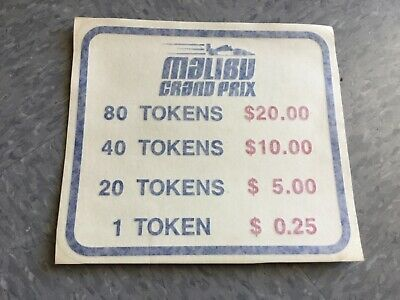 Malibu Grand Prix video arcade game token peel and stick decal history!