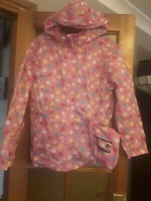 Peter Storm Girls Pac A Mack Pink With Spots Age13 With Hood kag in a bag