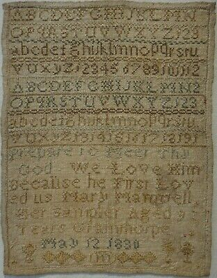 SMALL EARLY 19TH CENTURY ALPHABET SAMPLER BY MARY MAMWELL AGED 9 - May 12 1830