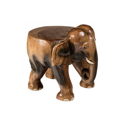Carved Wooden ELEPHANT TABLE OR STOOL Hand Made Plant Pot Lamp Stand UK SELLER