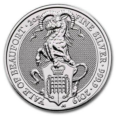 """2019 Great Britain 2 oz Silver Queen's Beast """"The Yale""""  NEW W/FREE CAPSULE!"""