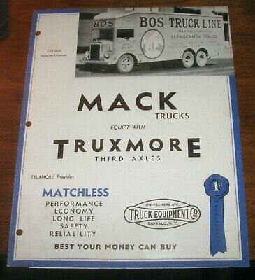 1935 MACK Trucks & Truxmore Third Axle Original Sales Brochure w/Pictures